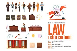 Law Retro Cartoon Set
