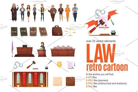 Law Retro Cartoon Set
