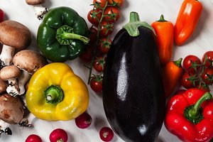 fresh vegetables on the table, bright multi-colored organic bio