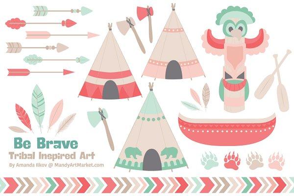 Mint & Coral Tribal Vector Clip Art