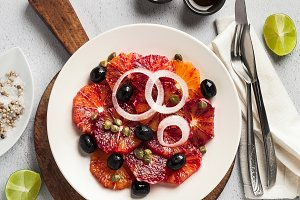 typical Spanish-style salad of red orange, onion and olives with