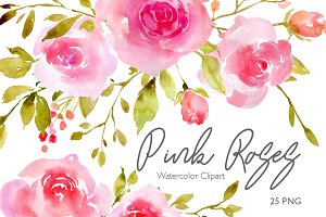 Pink Watercolor Flowers Roses PNG