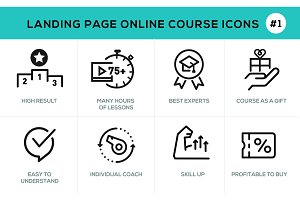 Flat line design concept icons online e-learning