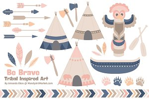 Navy & Blush Tribal Clip Art