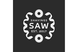 Acute saw with the shavings, modern logo vector illustration of a flat style
