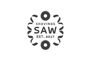 Circular Saw with shavings on the sides Modern Logos vector illustration flat style
