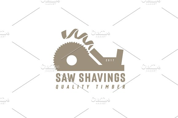 Plane Abstract Circular Saw With Drive In And Departing Shavings Modern Logo Vector Illustration Of A Flat Style