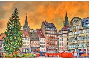 Christmas tree on Place Kleber in Strasbourg, France
