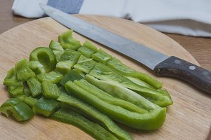 Sliced green pepper on a table