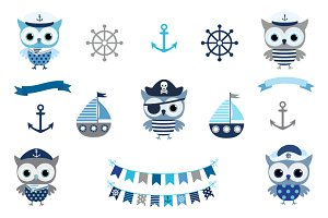 Cute Nautical Sailor Owl Clip Art
