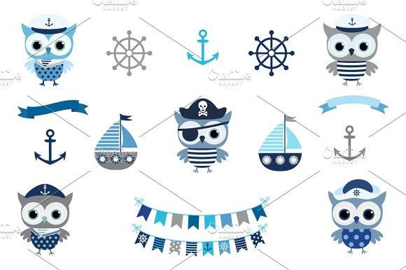 Cute Nautical Sailor Owl Clip Art
