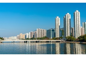 Sha Tin District with the Shing Mun River in Hong Kong, China