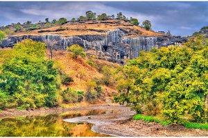The Velganga River at Ellora Caves in the dry season. India