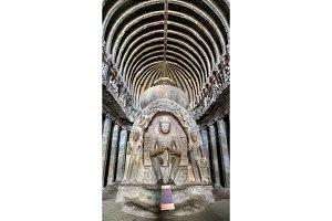 Interior of the Vishvakarma, the Cave no. 10 at the Ellora Complex, India