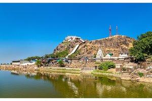 Dudhiyu Talav Lake and Kalika Mata Temple at the summit of Pavagadh Hill - Gujarat, India
