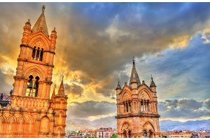 Towers of Palermo Cathedral at sunset - Sicily, Italy