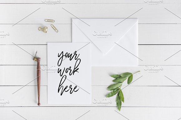 A5 Invitation White Card Mockup