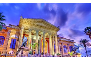 The Teatro Massimo Vittorio Emanuele, the biggest in Italy opera house. Palermo, Sicily