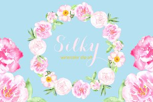 Silky peony watercolor clipart.