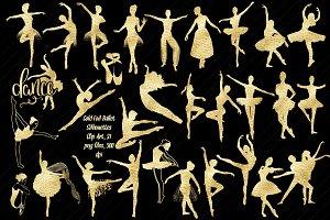 Gold Foil Ballet Silhouette ClipArt