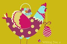 Easter chicken with easter eggs