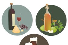 Alcohol beverages and snacks