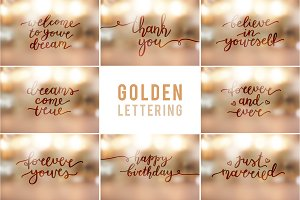25 Big Golden Lettering Set