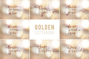 25 Golden Lettering Set