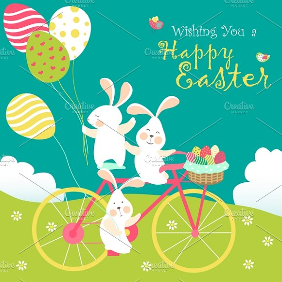 Easter bunnies and easter eggs in Illustrations