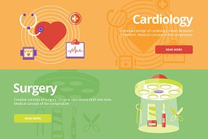 Flat Medical Banners Concepts