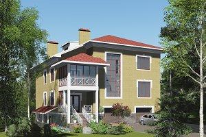 3D visualization. Brick house.