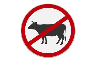 No beef sign. Dietary restriction.