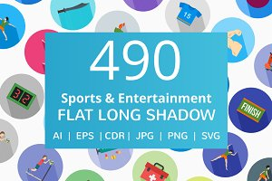 490 Entertainment Long Shadow Icons
