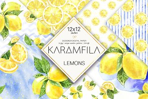 Lemons Digital Paper Fruits Patterns