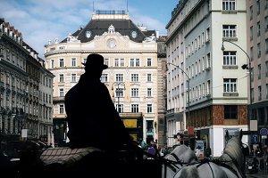 Silhouette of coachman