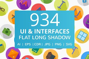934 UI & Interfaces Long Shadow Icon