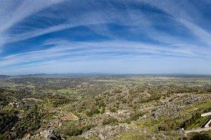 Aerial view the dehesa Extremadura