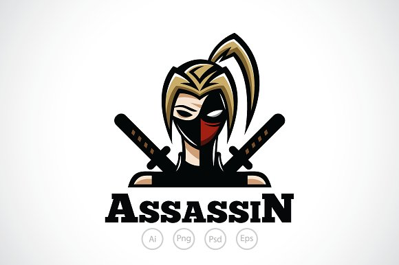 ninja girl logo template logo templates creative market
