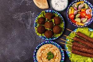 Classic kebabs, falafel and hummus