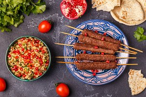 Classic kebabs with tabbouleh salad
