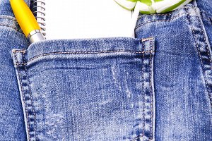 blue jeans with lollipop, notepad an