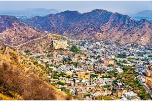 Aerial view of Amer town near Jaipur, India