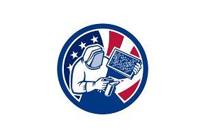 American Beekeeper USA Flag Icon