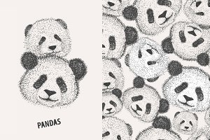 seamless pattern with pandas