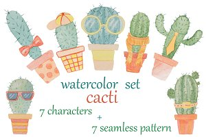 Watercolor set of cacti
