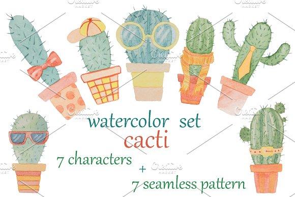 Watercolor Set Of Cacti