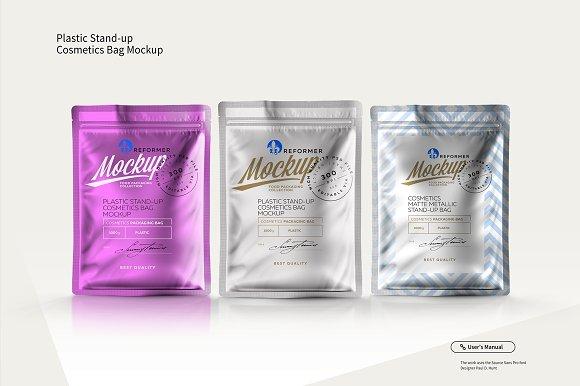 Download PLASTIC STAND-UP COSMETICS BAG MOCKU