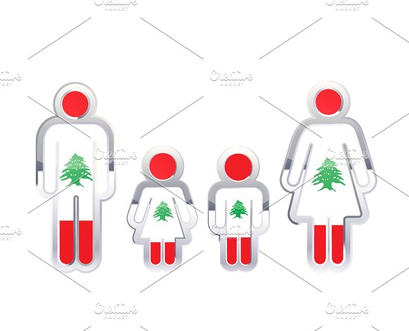 People Icon With Lebanon Flag
