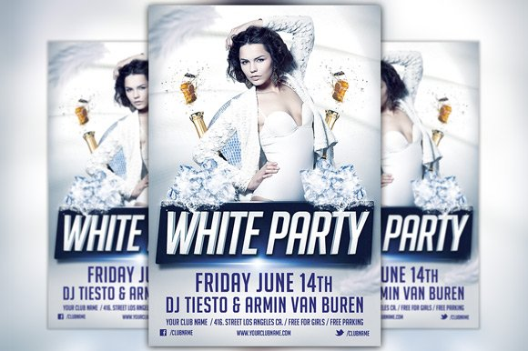 White Party Flyer Template Flyer Templates Creative Market