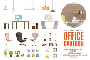 Office Interior Cartoon Set